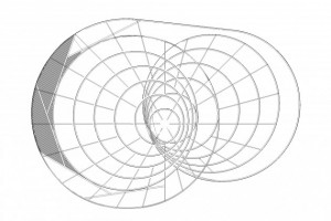 Line drawing mock-up of a structure with two overlapping sets of concentric circles.