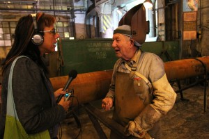 Laetitia interviews a welder at 3.MAJ. Photo by Dean Miculinic
