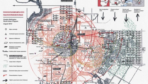 Hand printed red-and-black map of urban struggle in Guelph