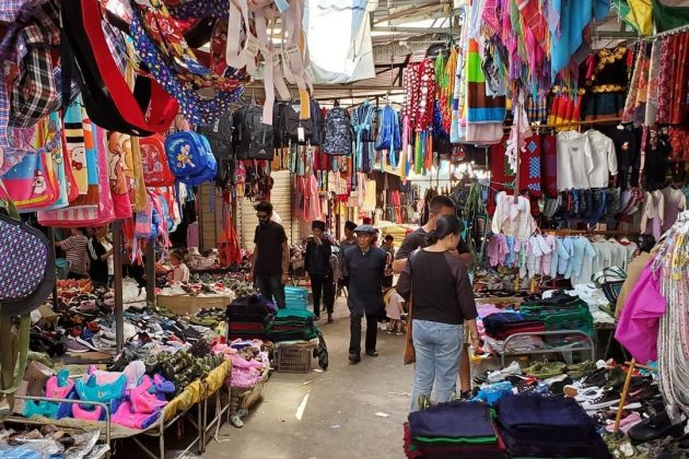 Colourful market in Asia